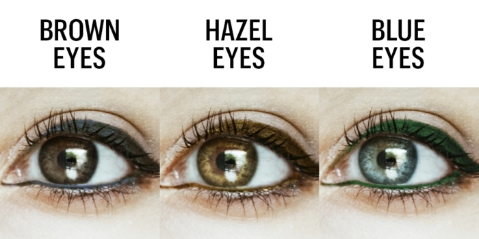 hazel eyes, three eyes in green, light and dark brown, with green light brown and black eye liner