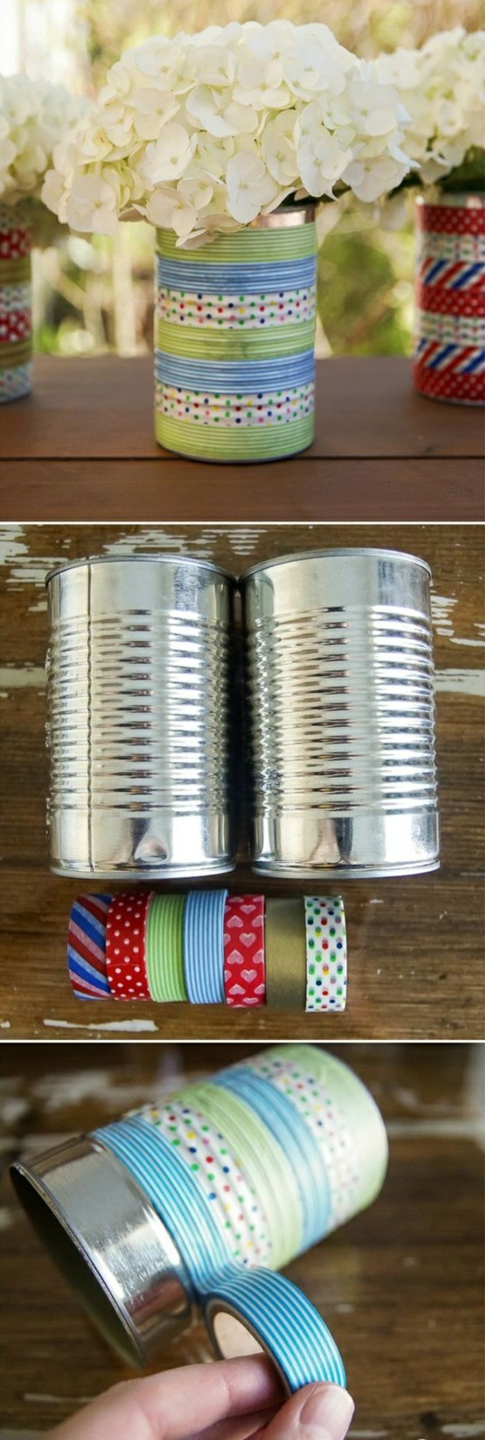 metal tin containers, several vases made from tins containing white hydrangeas, decorated with multicolored washi tape, had wrapping tape around a can