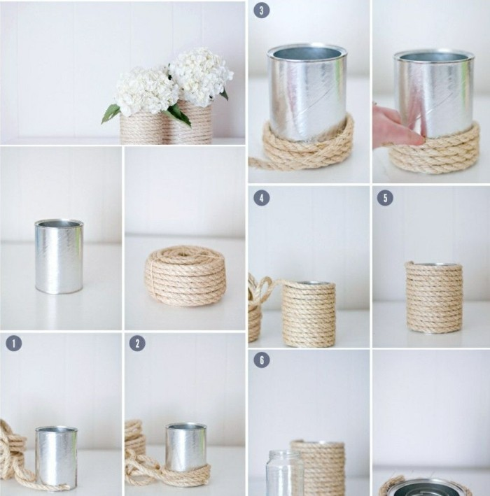 metal tin containers, two aluminium tins, decorated with string, containing white hydrangeas, step by step tutorial showing string being wrapped around a can