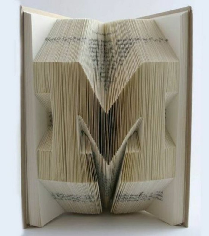the letter m, made from folded pages, inside an opened book, with hard off-white covers