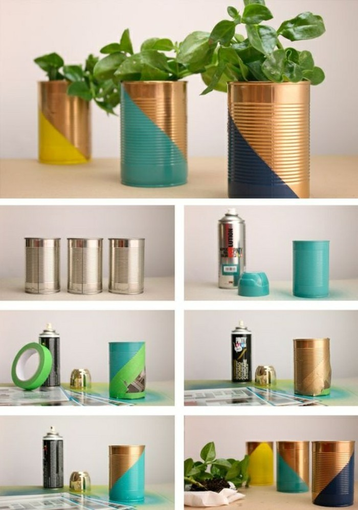 tin can projects, three tin cans, containing green potted plants, decorated with differently colored paint, step by step photo tutorial showing the painting process