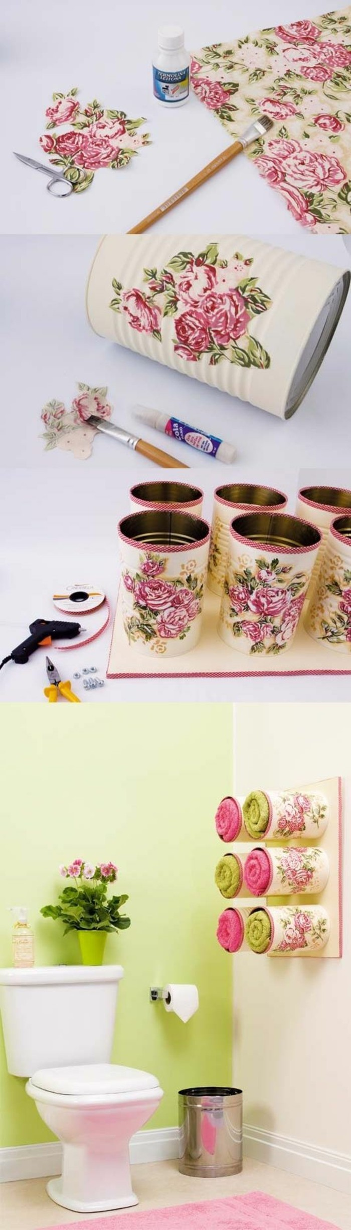 empty tin cans, floral paper and glue, near small scissors and paint brush, six large cans decorated with decoupage, containing towels and stuck on wooden board, mounted on a toilet wall