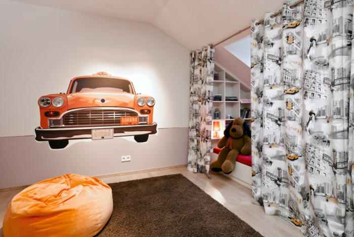 curtain ideas, child's room wit red car mural on wall, orange beanie chair, brown fluffy carpet, bed behind grey and yellow patterned curtain