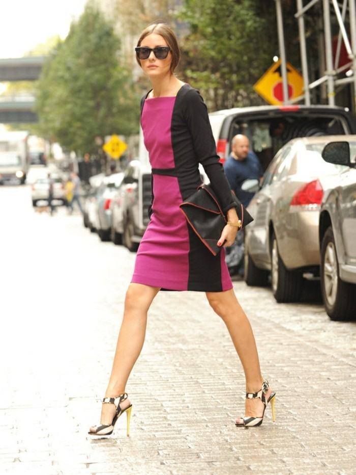 business casual women, slim woman in fuchsia pink and black block dress, with sunglasses and striped high heels with straps