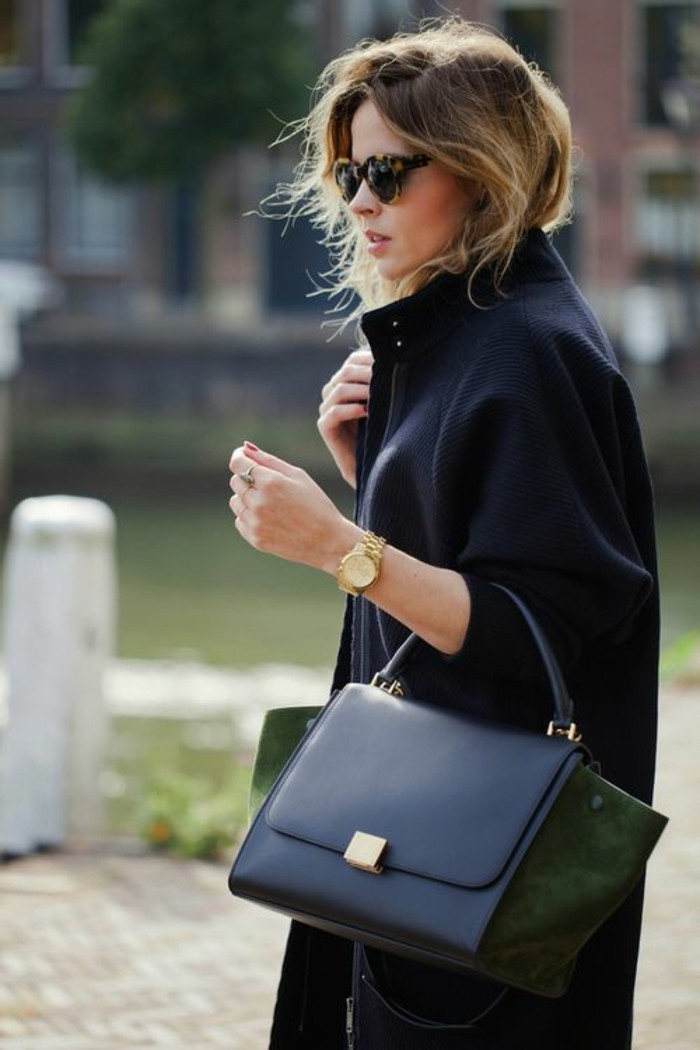 casual business attire, black woolen coat, worn by blonde woman with sunglasses, holding black leather bag, with dark green suede details