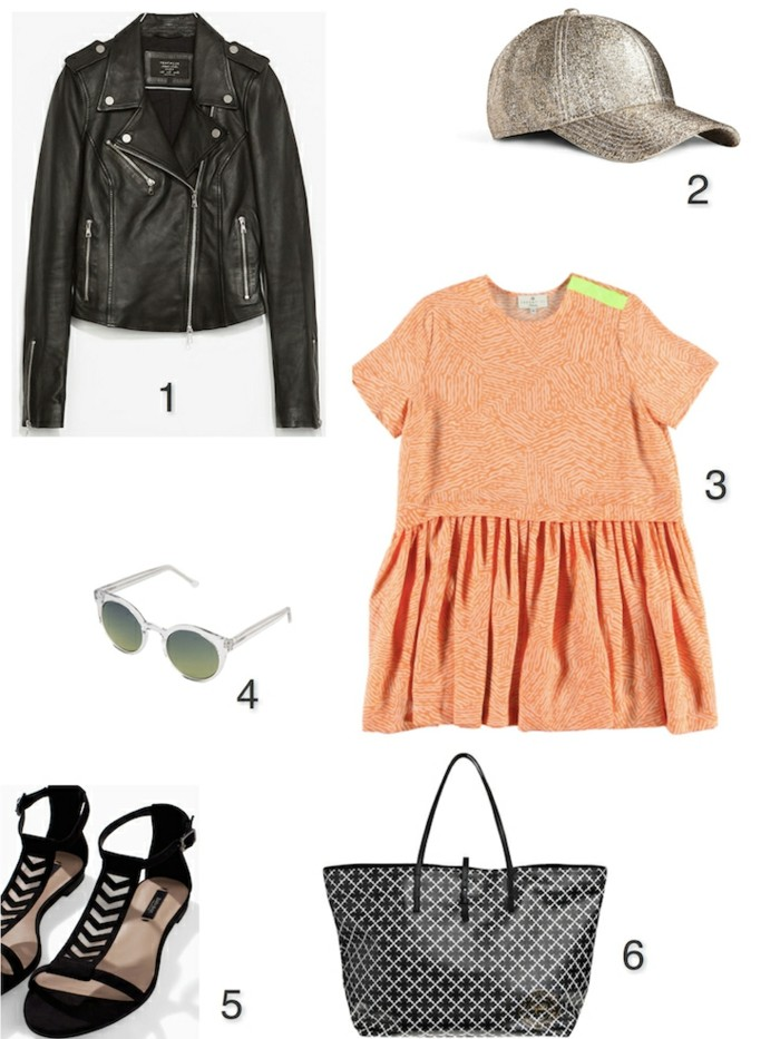 cute work outfits, black leather biker jacket, metallic baseball cap, peach colored mini dress with pleated skirt, black and white patterned shopper bag, sunglasses and black sandals