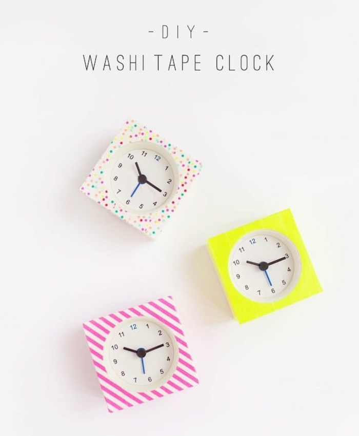 small square clocks, decorated with washi tape, pink and white stripes, multicolored polka dots, and canary yellow, easy arts and crafts
