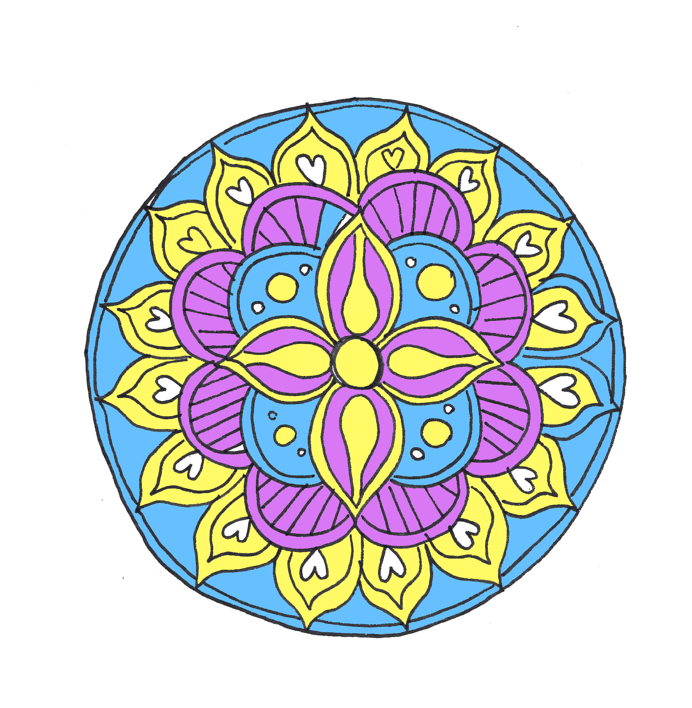 blue and white, purple and yellow, digitaly colorized image of a mandala, craft ideas, large circle with hearts and a flower shape
