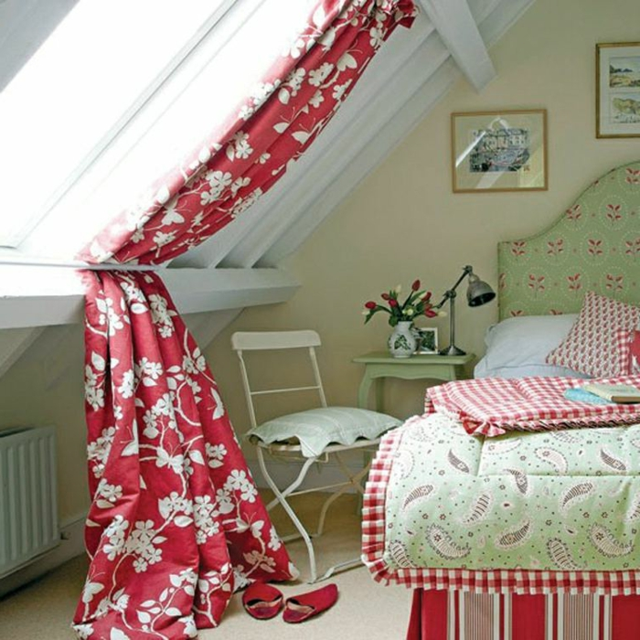 window treatment ideas, attic bedroom with white wooden beams, and gable windows, red and white floral curtains, pale green and red furniture and textiles