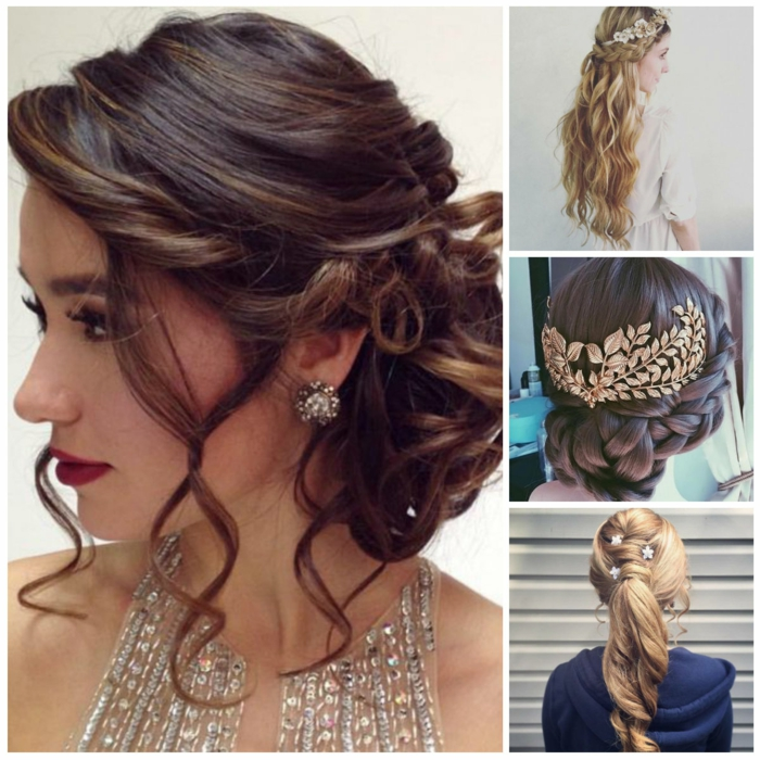 medieval braids, four examples of hair inspired by the past, messy bun with loose curly strands, long blonde hair with braid, braided brunette hair with gold ornament, curled blonde ponytail with flowers