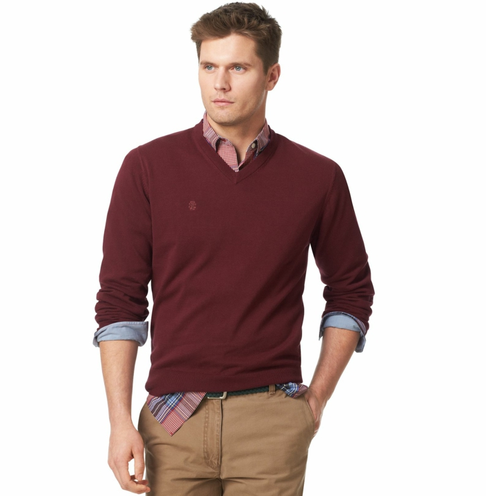 burgundy red v-neck jumper, worn over plaid shirt in pink and blue, business casual attire, combined with beige pants
