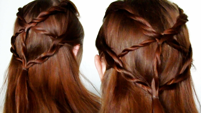 straight auburn hair, with five crossing braids, joining in the middle, seen from two angles