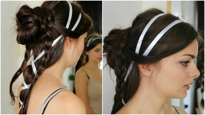 hairstyle with several braids and a bun, decorated with white ribbon, worn by brunette woman, seen from two angles