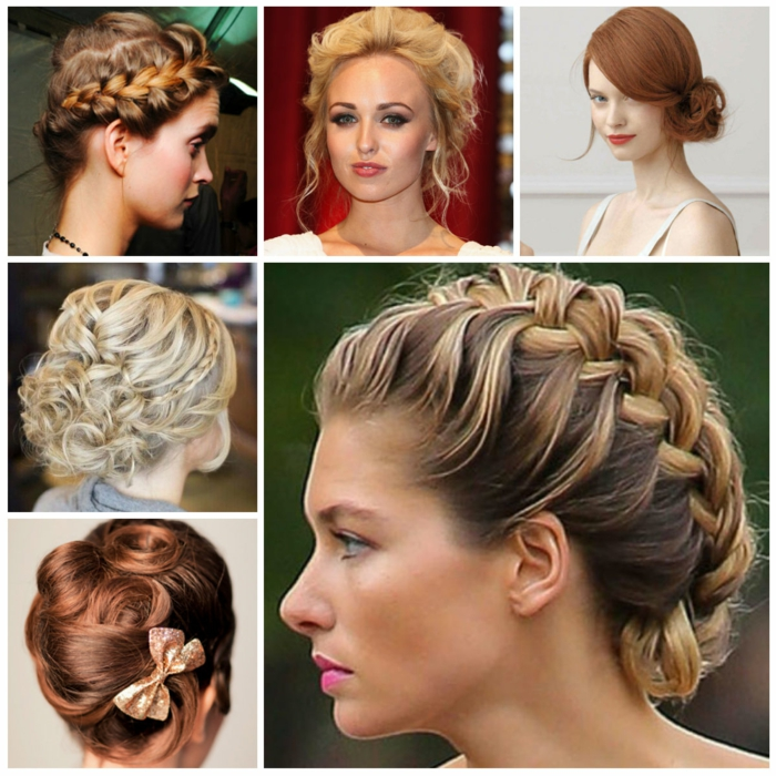 elizabethan hairstyles, six images showing examples of hairstyles, inspired by history, plaids and curls, buns and bows, on blonde and ginger hair