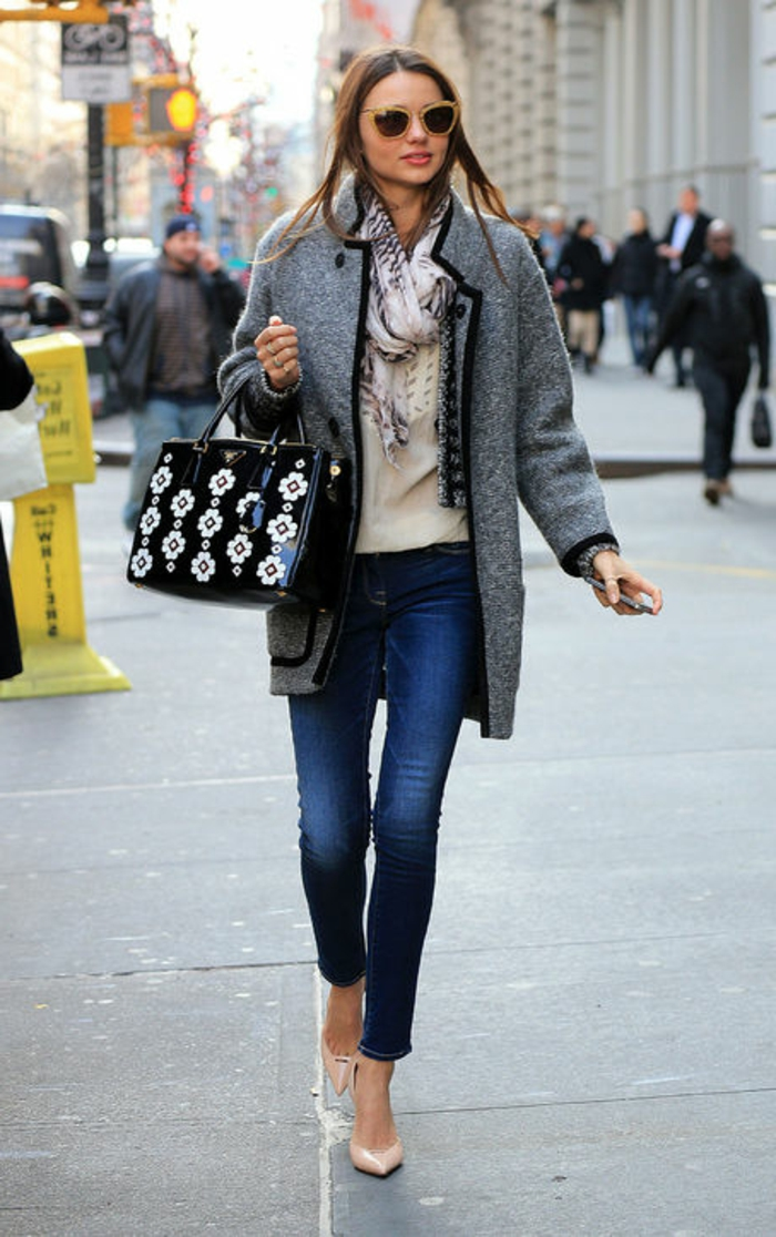 large grey woolen coat, over white top, and patterned scarf, worn by miranda kerr, with business casual jeans