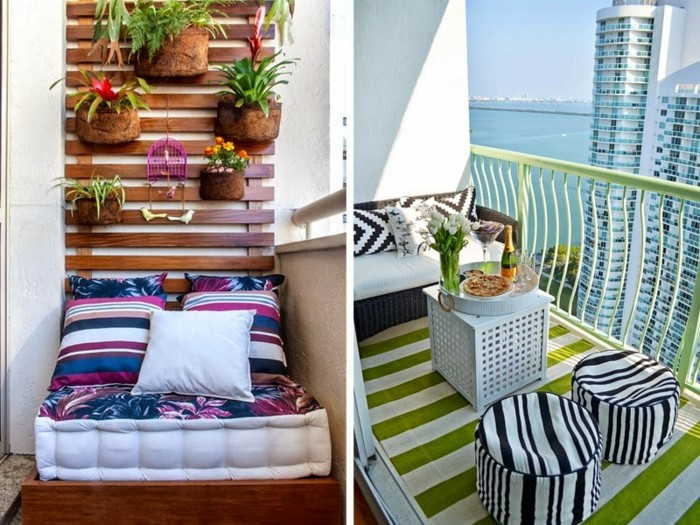 two suggestions for balcony decoration, wooden shelf with potted plants, over settee in white blue and purple, green striped rug, with black and white furniture