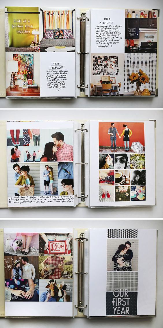 three open binders, craft ideas, showing many photos, of couples and interiors, and some text
