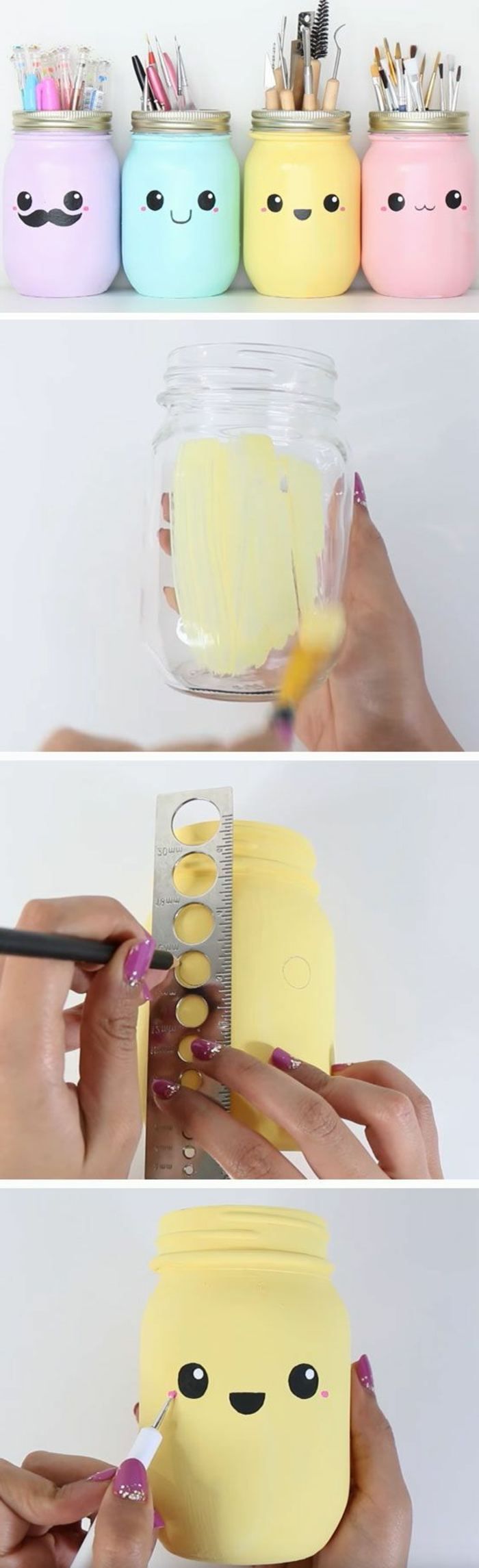 four mason jars, painted in pastel colors, pale purple and blue, yellow and pink, decorated with hand-drawn caroon faces, fun and easy crafts, making of process in three photos