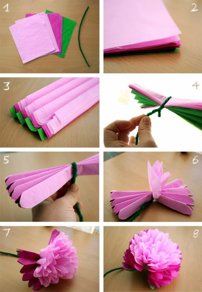 fun and easy crafts, eight images showing a tutorial, explaining how to make a paper flower, several sheets of paper in pink, purple and green, being folded and tied