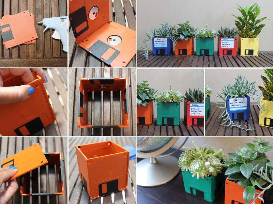 flower pots made from old floppy disks, in different colors, art and craft ideas, step by step photo tutorial, explaining how to make them