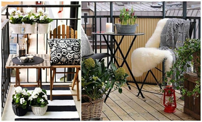 tiny wooden table and chair, with striped rug, front porch decorating ideas, black and white patterned pillow, and many white flowers, in black or white pots