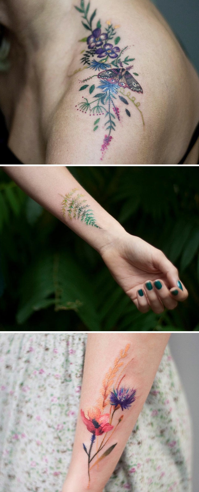 shoulder flower tattoos, with purple, pink and yellow blossoms, green leaves and a butterfly, three-tone fern leaf tattoo near a woman's wrist, water-color effect tattoo, of a poppy and a cornflower, on a person's lower arm