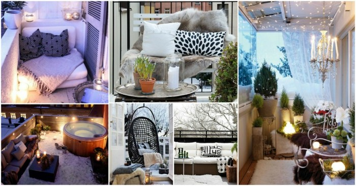 covered patio ideas, six images showing different patios, porches and verandas, hot tub and green potted plants, swing and different fabrics, pillows and fur, wooden settees and blankets