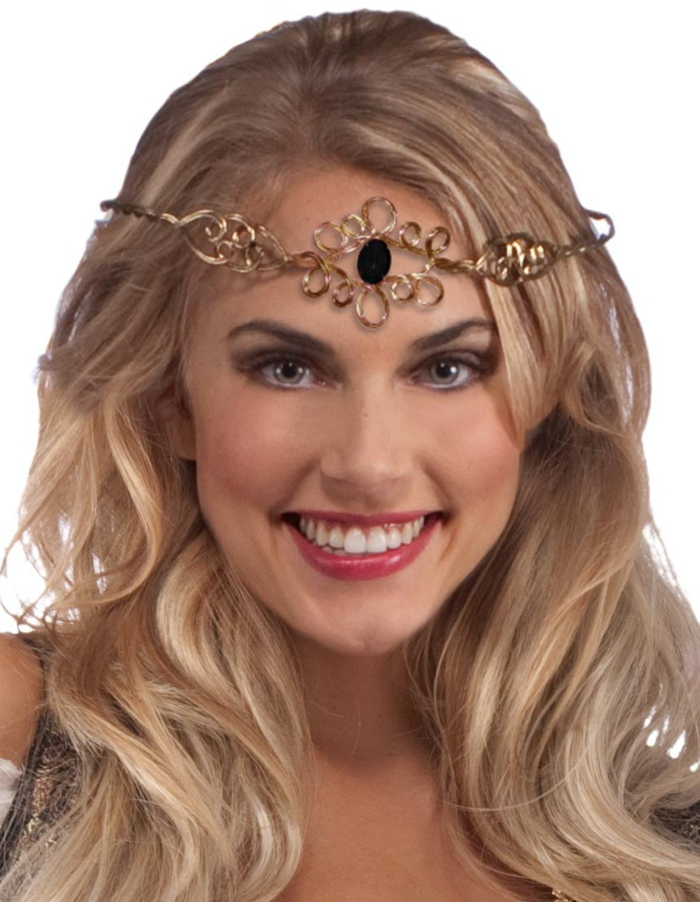 medieval times hair, smiling blonde woman, with wavy natural hair, wearing red lipstick, and ornate gold diadem, with black stone