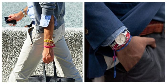 colorful bracelets for men, two close ups showing businessmen, wearing yellow and pink, and red and blue woven bracelets