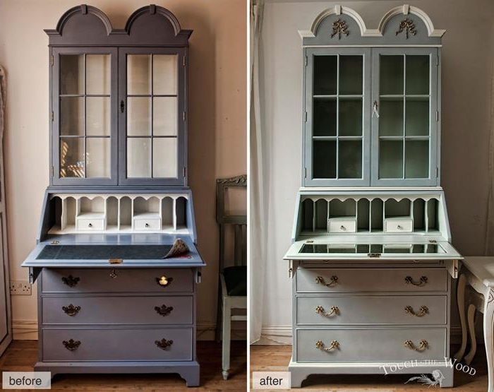 pastel lilac colored dresser, with a writing desk, repainted in duck's egg blue, and decorated with golden ornamental handles