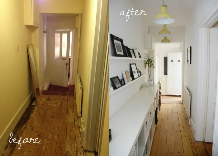 before and after, small hallway ideas, first image shows shabby hall, with worn and damaged floor boards, and one mirror, second image shows space with clean wooden floor, white shelves and cupboards, and several yellow ceiling lamps