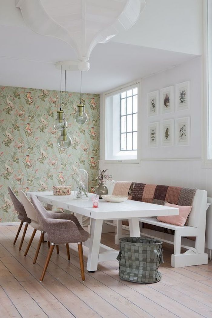 modern country chic dining room, with large white table, and matching bench, covered with shabby sheek cushions, beige fabric chairs