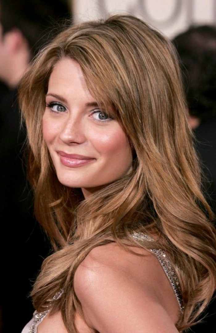 hazel colored layered and partially curled hair, worn by mischa barton, in sparkly silver top, and discreet make up, dark haired actresses
