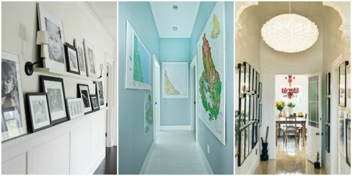 three hallway decor ideas, white theme with shelves containing framed black and white photographs, a pale blue theme with maps on its walls, a classic theme with framed photos and a statement lamp