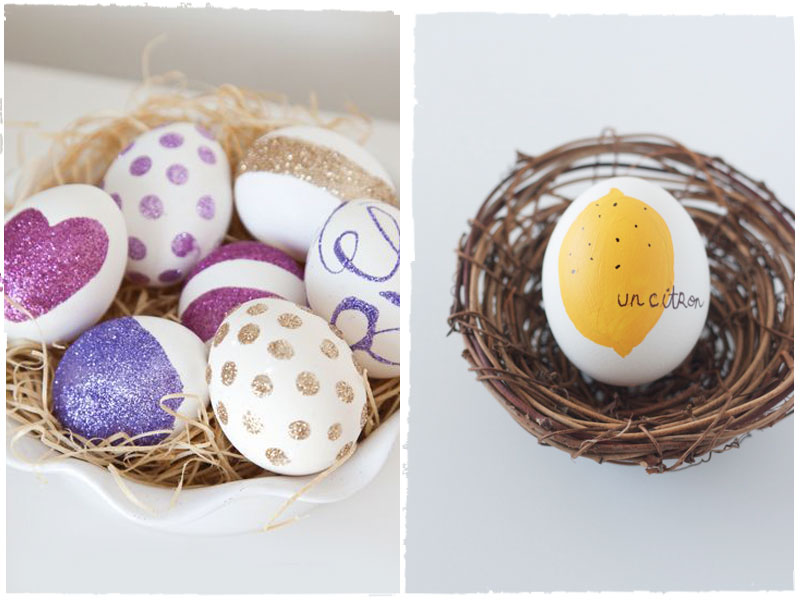 decorative white bowl, filled with artificial straw, containing seven white eggs, decorated with pink and purple, gold and violet glitter, how to dye easter eggs, next image shows a nest made of twigs, with a single white egg, decorated with a drawing of a lemon