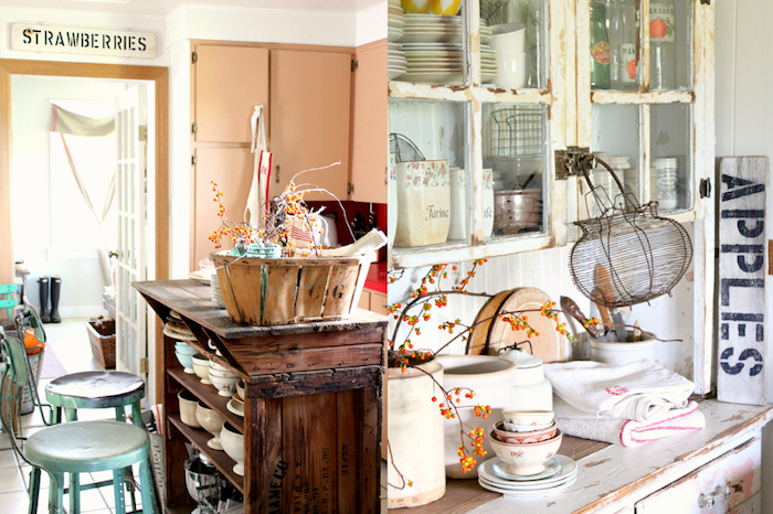 vintage kitchens in beige and off-white, shabby chic decorating, one has a cupboard made from a wooden crate, the other has old cupboard with peeling white paint