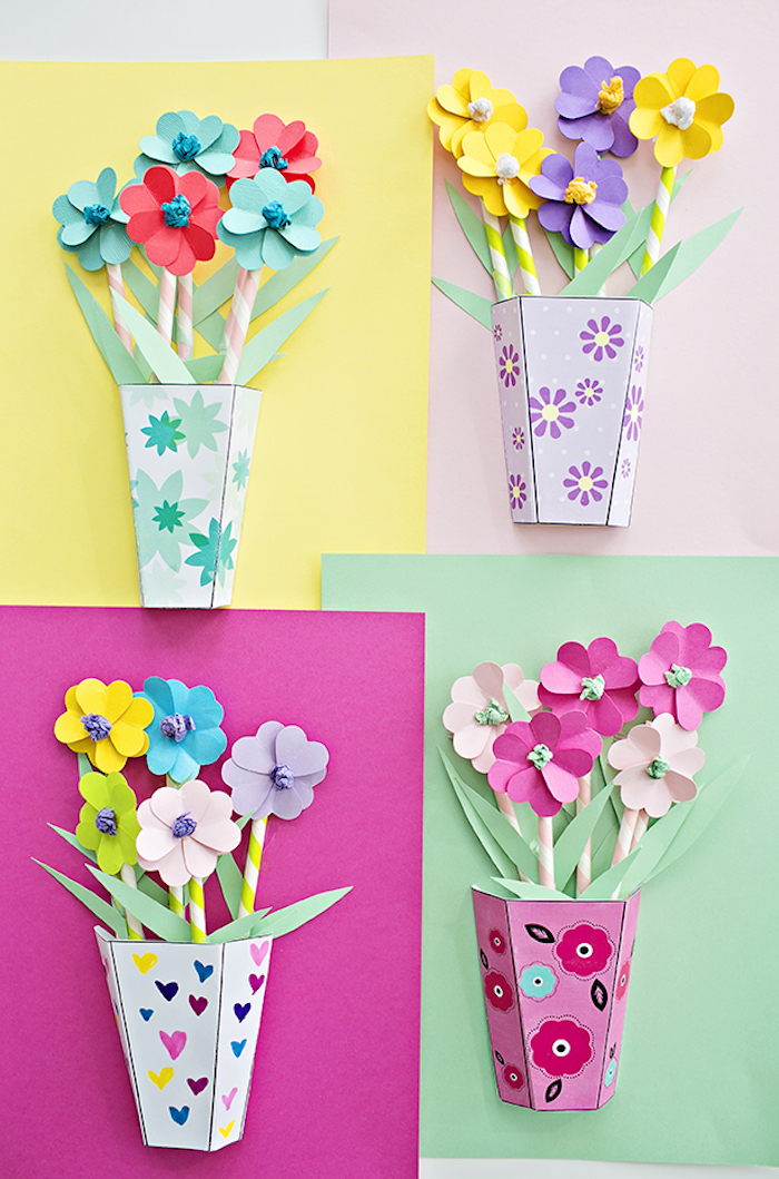 vases with flower bouquets, made from colored paper, with 3D effect, last minute mother's day gift ideas, turquoise and pink, yellow and purple, green and teal