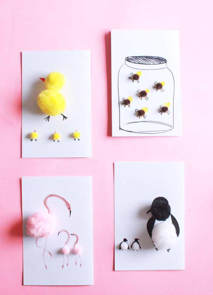 collage with white and black, yellow and pink cotton, forming animal children and parents, on four white cards, last minute mother's day gift ideas, chicks and penguins, bees and flamingos