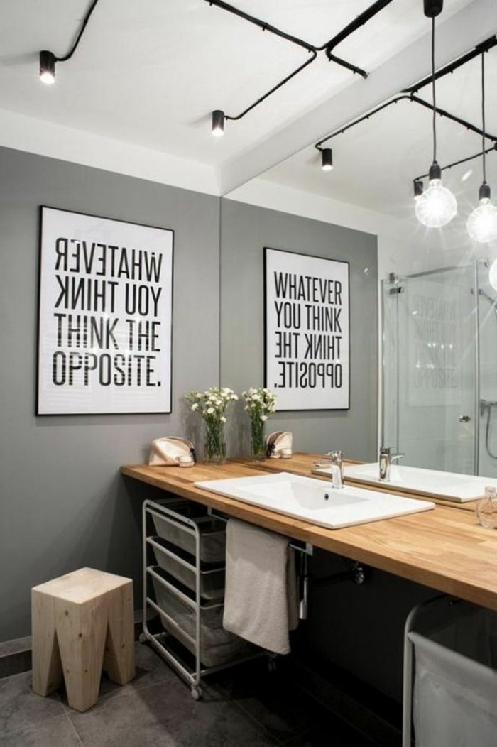 colors that go with gray walls, modern bathroom with warm wooden details, white sink and black ceiling lights