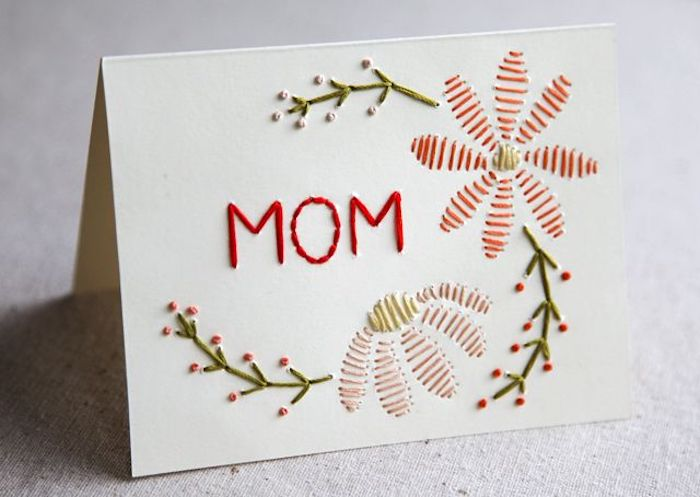floral motives and the word mom, embroidered with red, green and yellow tread, last minute mother's day gift ideas, on white card