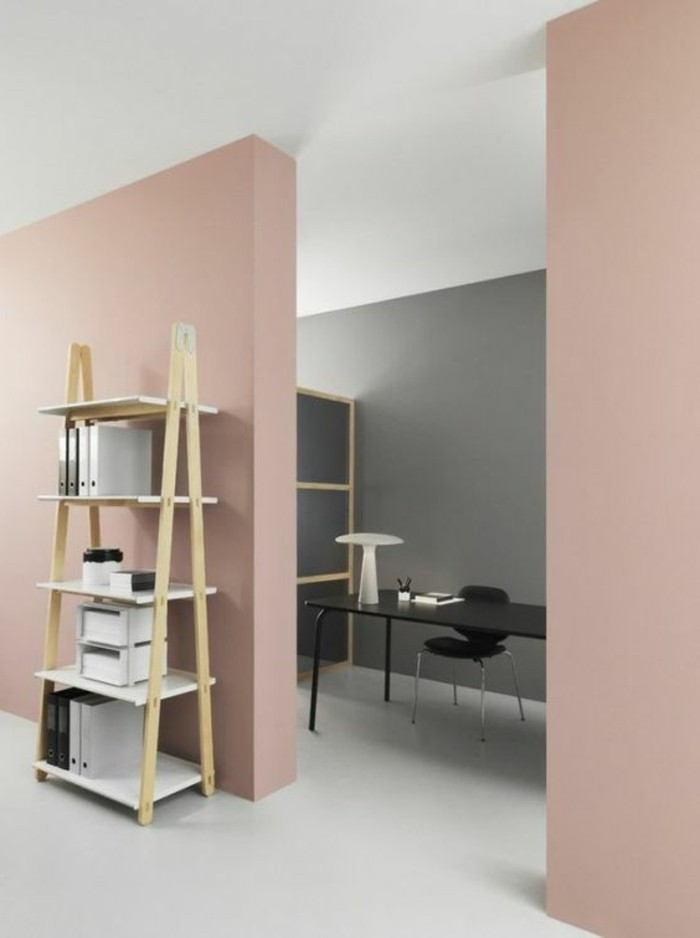 office or living room paint colors, pastel pink and gray walls, off-white floor and white ceiling,  minimalist wooden furniture