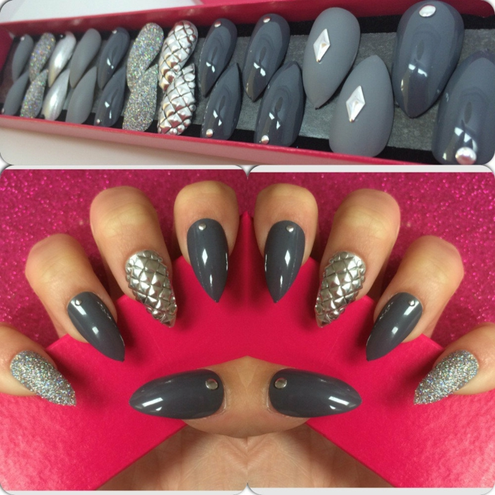 collection of fake nails, in different shades of grey, metallic and matte, covered in glitter and textured effects, second image shows, some of the nails on a woman's hand