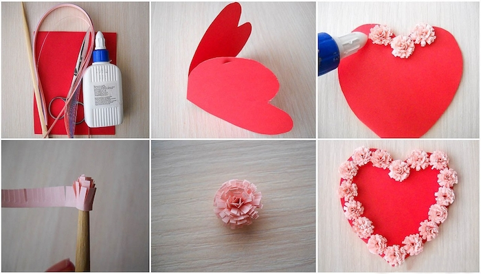 heart-shaped red card, decorated with pale pink paper flowers, last minute mother's day gift ideas, materials and step by step tutorial