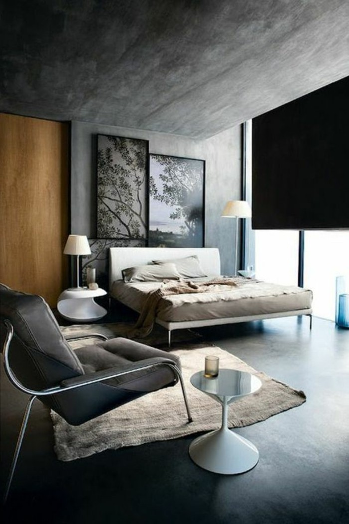 modern or industrial bedroom, with blue grey paint on walls, contrasting light wooden door, pale beige rug