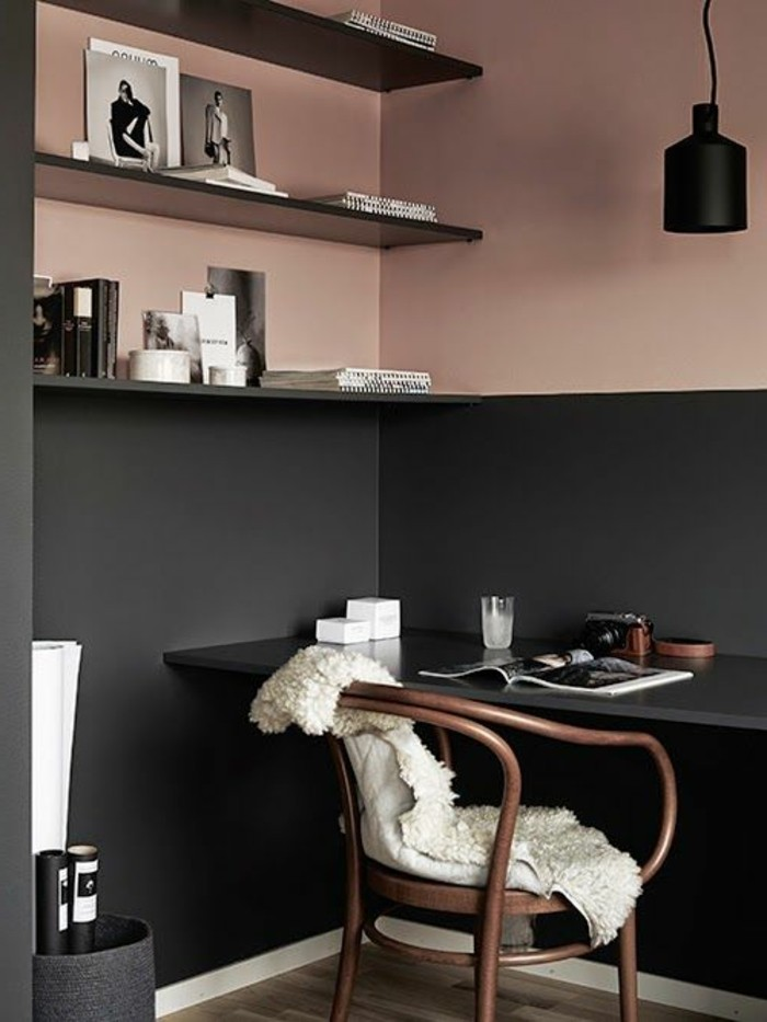 reading nook or office, with ash rose pink, and pewter gray walls , dark shelves and desk, living room paint colors, brown wooden vintage chair