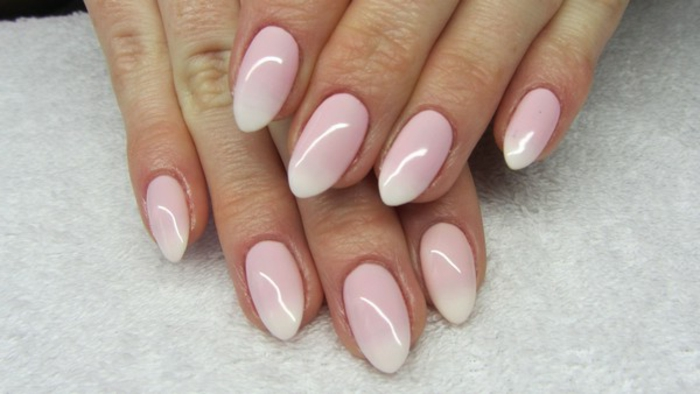 ombre effect pointy nails, with pale pastel pink, and white tips, romantic and cute idea