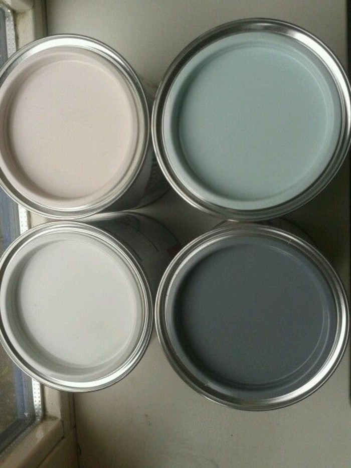 four pots containing beige, gray and duck's egg blue paint, ideas for painting a gray kitchen
