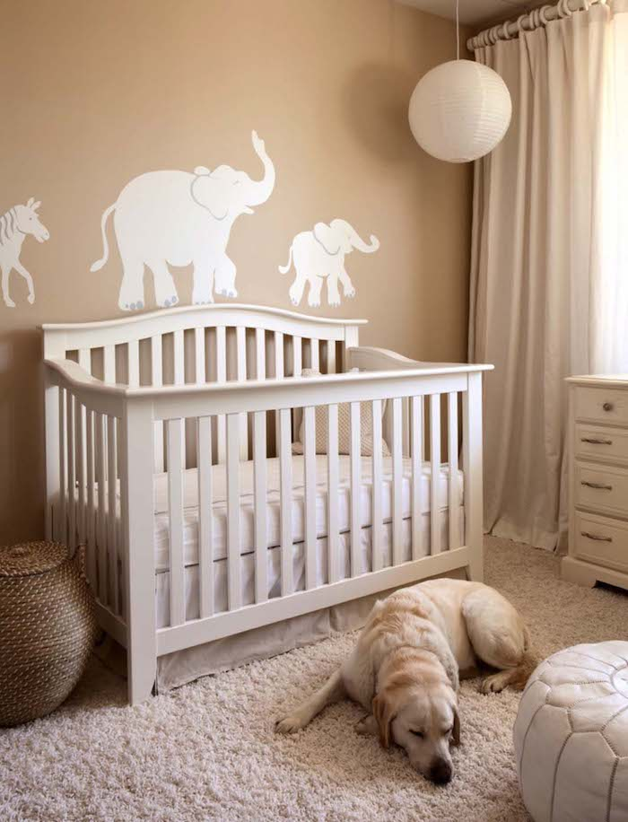 horse and two elephants, white mural on light brown wall, nursery ideas for girls and boys, cream colored wooden crib, fluffy off-white carpet, sleeping labrador retriever