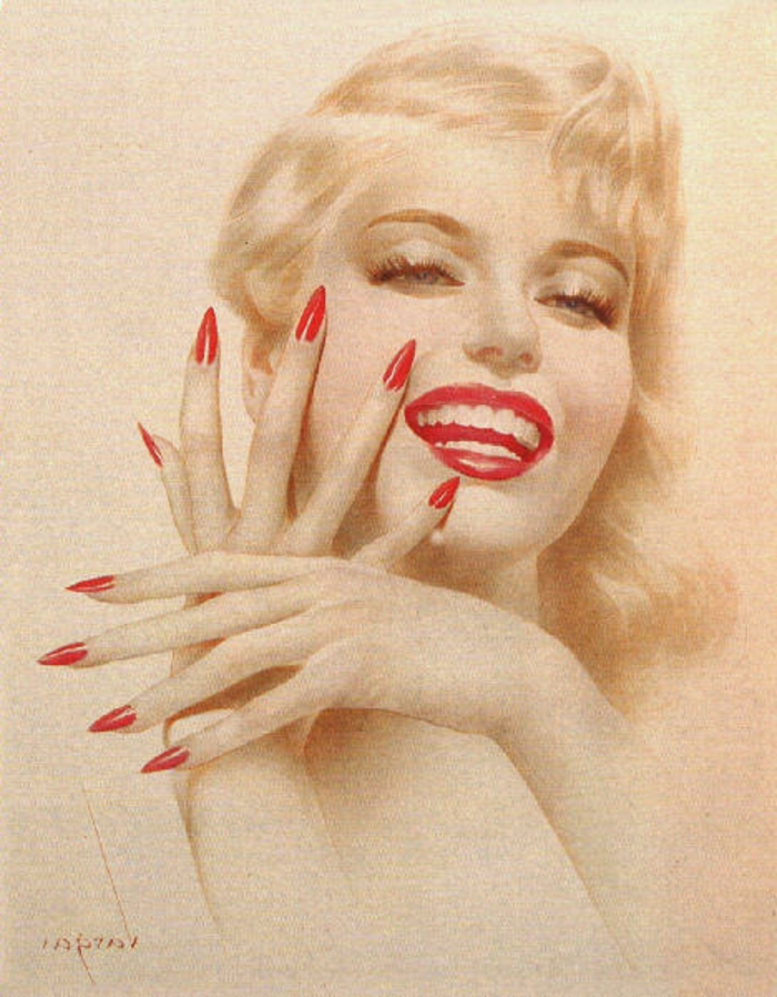 vintage drawing of a pin-up model, blonde wavy hair, bright red lipstick, and sharp pointy nails, in matching color