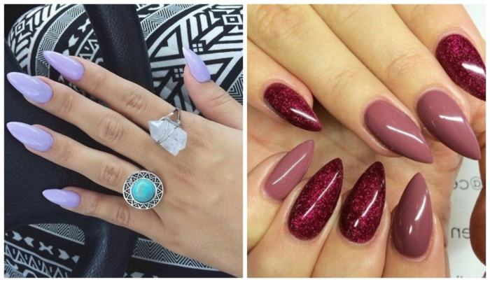 light violet nail polish, on long sharp manicure, hand with boho style rings, sparkly red and dark pink nail polish, on sharp long nails